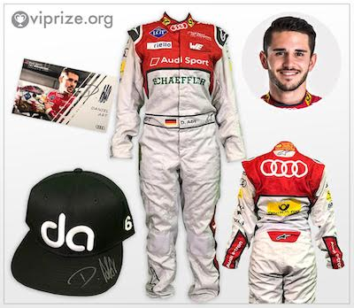 Original racing suit + signed cap & autograph card by Daniel Abt