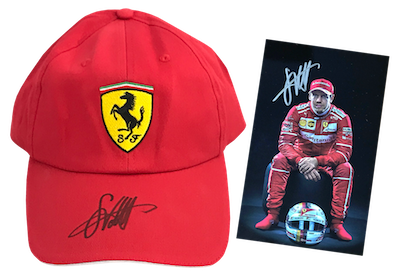 Original signed Ferrari Cap and autograph card by Sebastian Vettel!