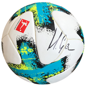 Original played and signed Bundesliga match ball by Mario Gomez