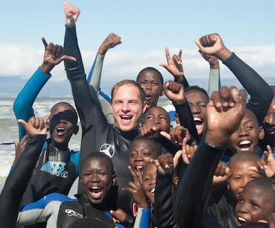 Aid organization Laureus Sport for Good - Sebastian Steudtner with needy children in Africa
