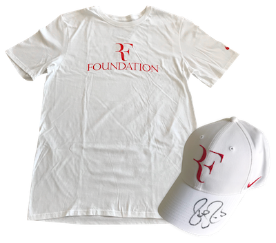 Hand signed cap & t-shirt from Roger Federer