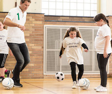Jens Lehmann plays soccer with children - Laureus Sport for Good